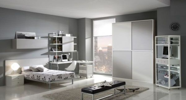 gray bed room lamp teenager man teen Design window shelves idea