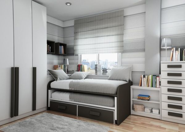 gray bedroom teenager man teen Design panel cupboard shelves books
