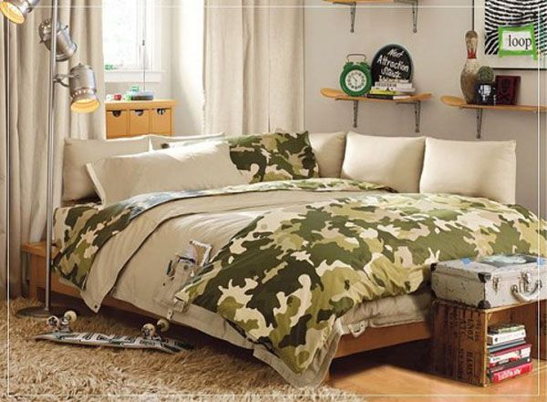 green lamp bed room teenager man teen Design Shelves window curtain little pillow Clock