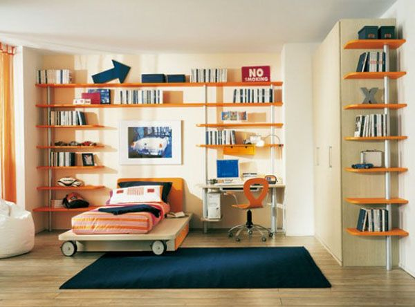 orange blue carpet bed room lamp adolescent male teenager shelves design window curtain desk chair image PC