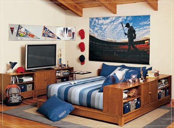 Wood bed room lamp teenager man teen Design Shelves window curtain blue little pillow TV