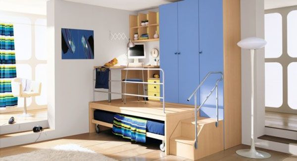 blue lamp bed room teenager man teen Design shelves wooden window frame cabinet