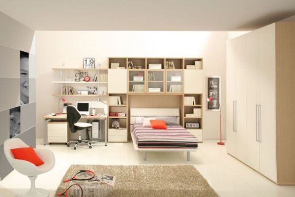 brown bed room lamp adolescent male teenager design shelves cabinet desk chair carpet