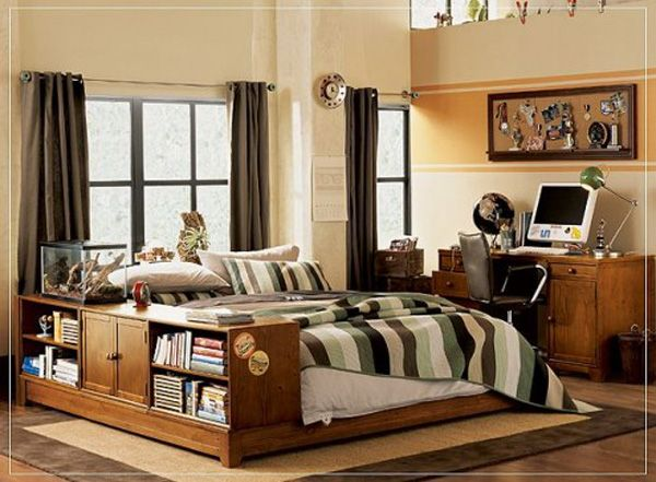 brown bed room lamp adolescent male teenager design shelves curtain window