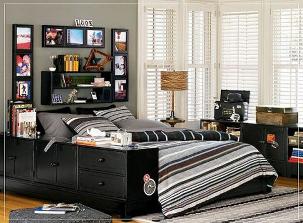 black bed room lamp adolescent male teenager design shelves Picture Books