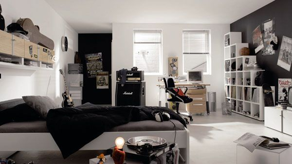 black guitar desk chair poster bed room lamp adolescent male teenager shelves Design Window Curtain Ideas