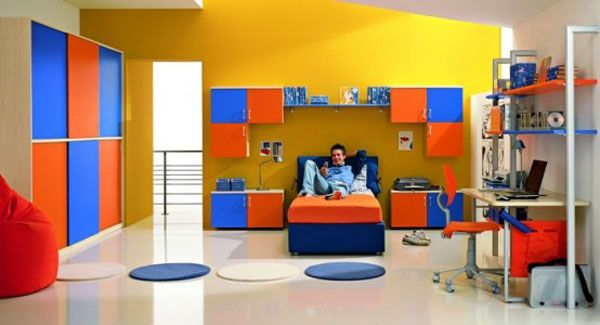 colorful blue yellow orange red bedroom teenager man teen Design Shelves window Carpet