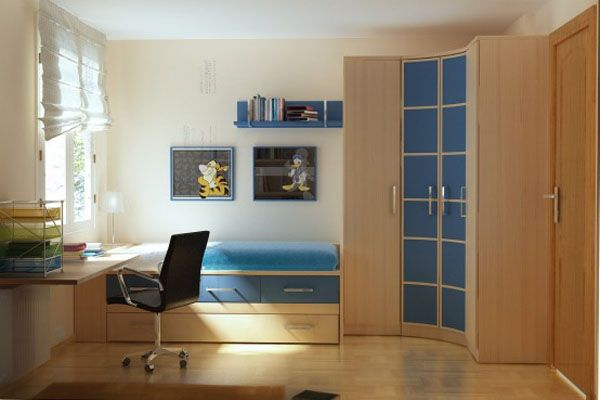 blue desk lamp bed room chair idea adolescent male teenager design shelves curtain window wood