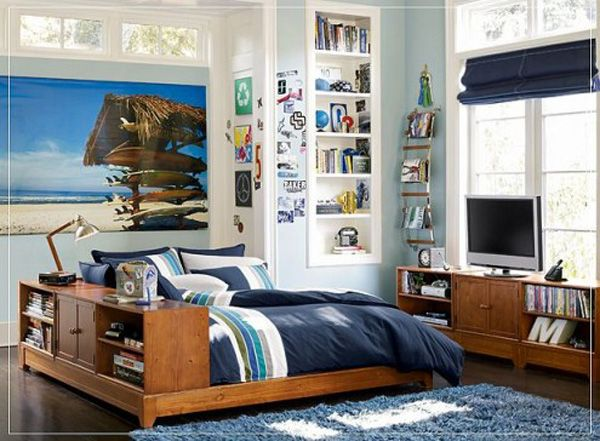 Wood bed room lamp adolescent male teenager design shelves curtain window Posters TV