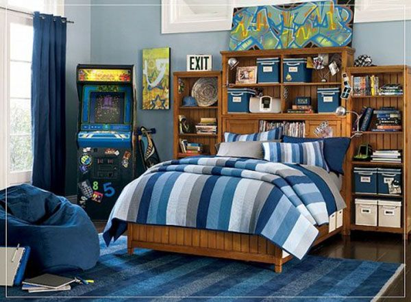 blue lamp bed room teenager man teen Design Shelves Wooden Picture