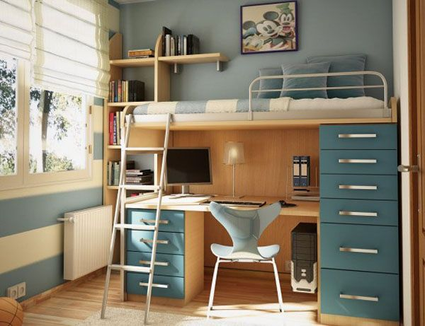 blue lamp bed room teenager man teen Design Windows Stairs desk chair wood picture little pillow PC